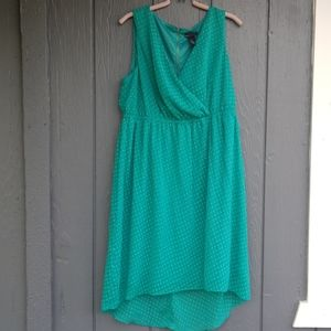 Lane Bryant textured polkadots green dress 14/16